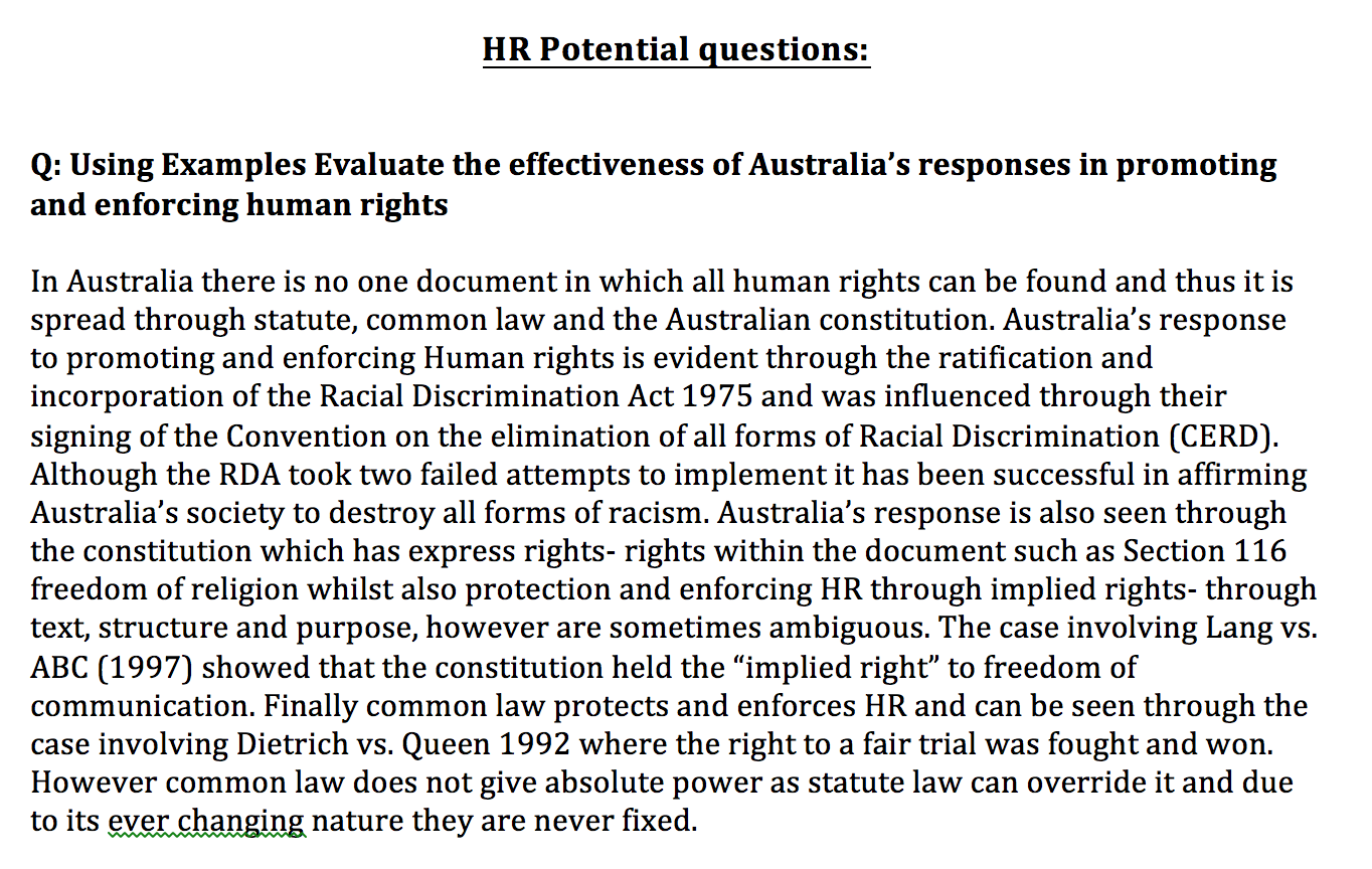 legal studies human rights notes How to write study notes for legal studies 1 the incorporation of human rights into domestic law basics details good things bad things lcmshuman rights in australia the federal parliament each bill now has to have none of the hr treaties constitution - s 51 (xxix)come from: gets the power to make a 'statement of we've.