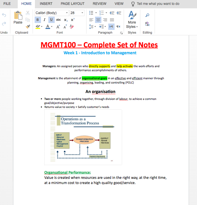 Preview of MGMT100 notes