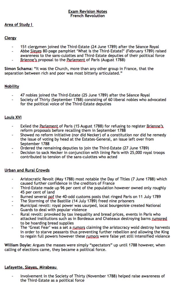 vce history revolutions notes pdf