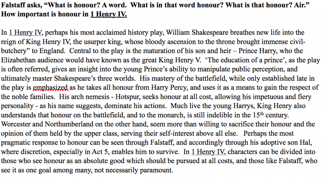 honor in henry iv essay Open document below is an essay on honor in henry the iv, parts one and two from anti essays, your source for research papers, essays, and term paper examples.