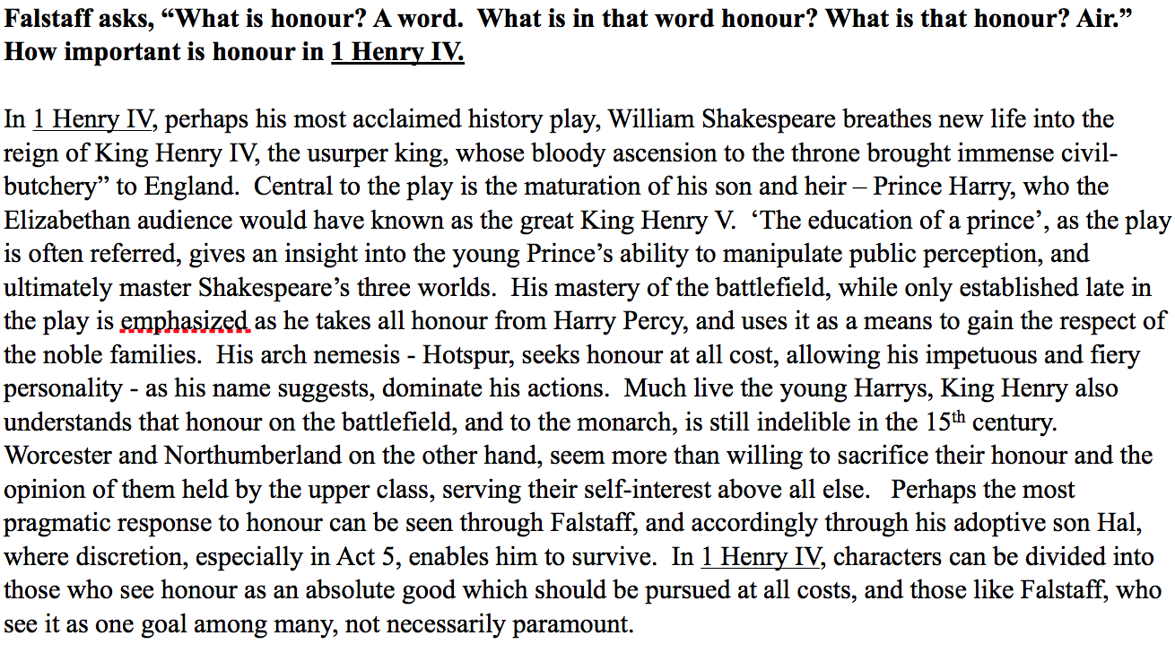 king henry iv part 1 essays William shakespeare's king henry iv part 1 is, at its core, a commentary on the   henry iv and jack falstaff are antithetical leaders of completely different  worlds, and it  please register for an in-depth essay-writing class(es) on henry  iv.