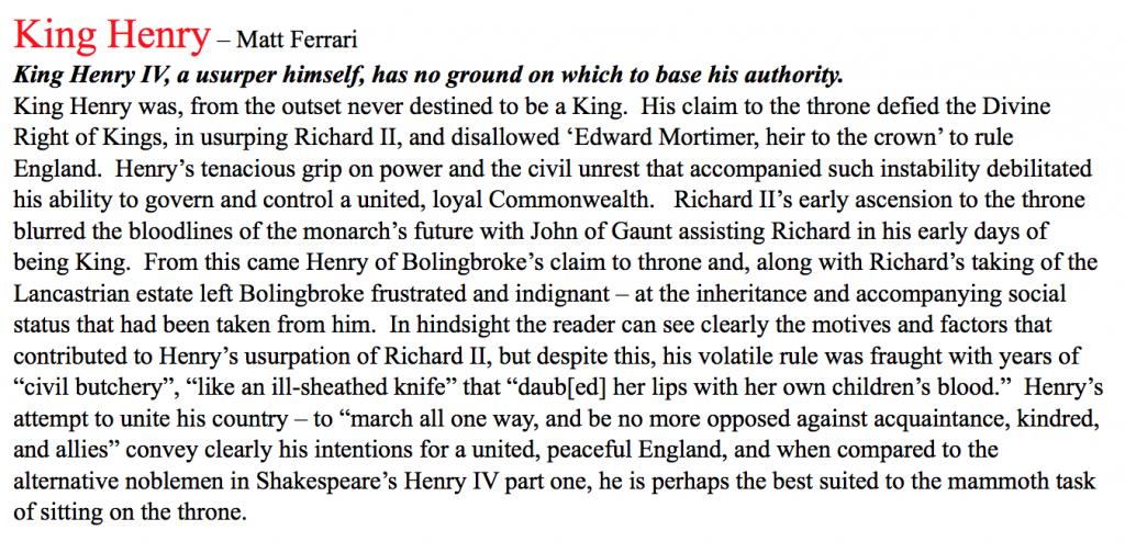 king henry iv part 1 essay Note: 1 henry iv has two main plots that intersect in a dramatic battle at the end of the play the first plot concerns king henry iv, his son, prince harry, and.