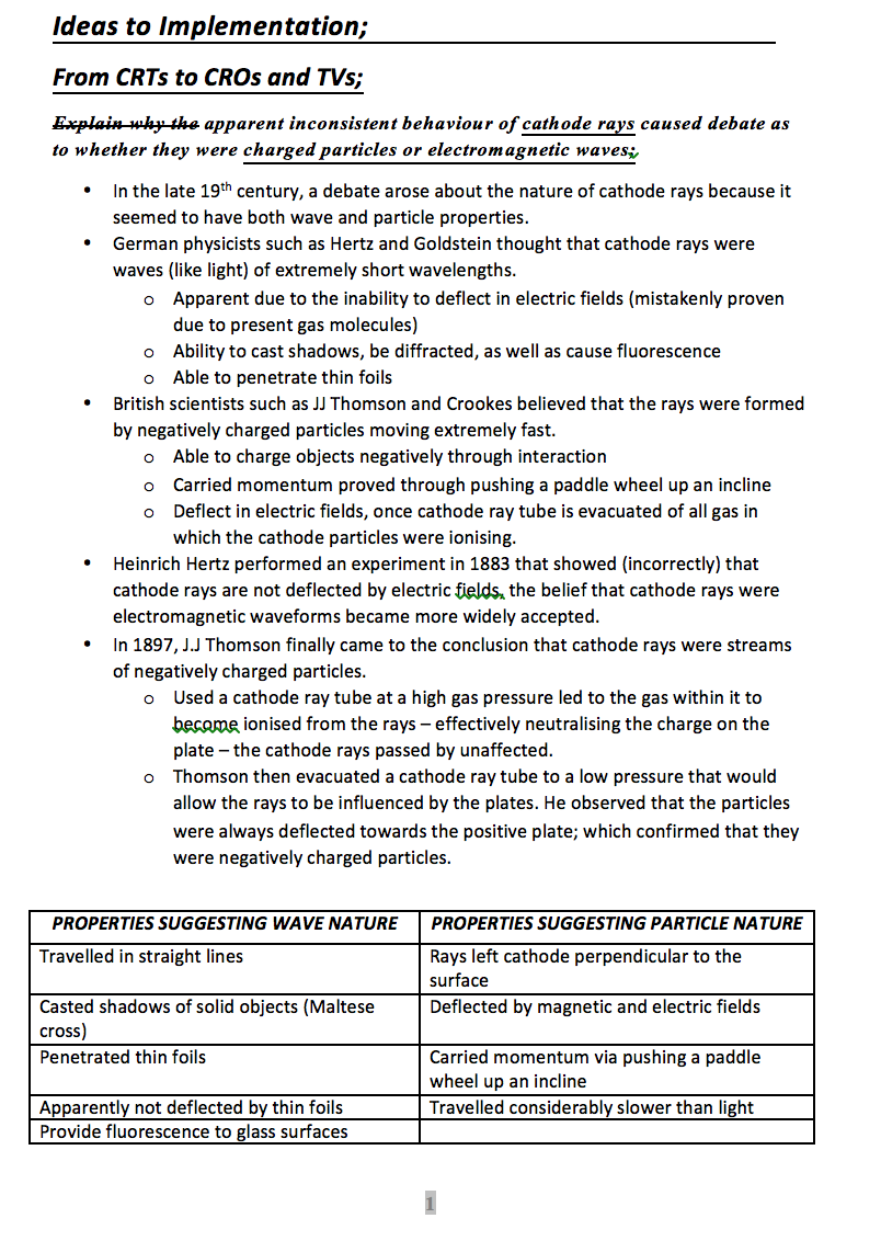 HSC Physics Ideas to Implementation Syllabus Dot Point