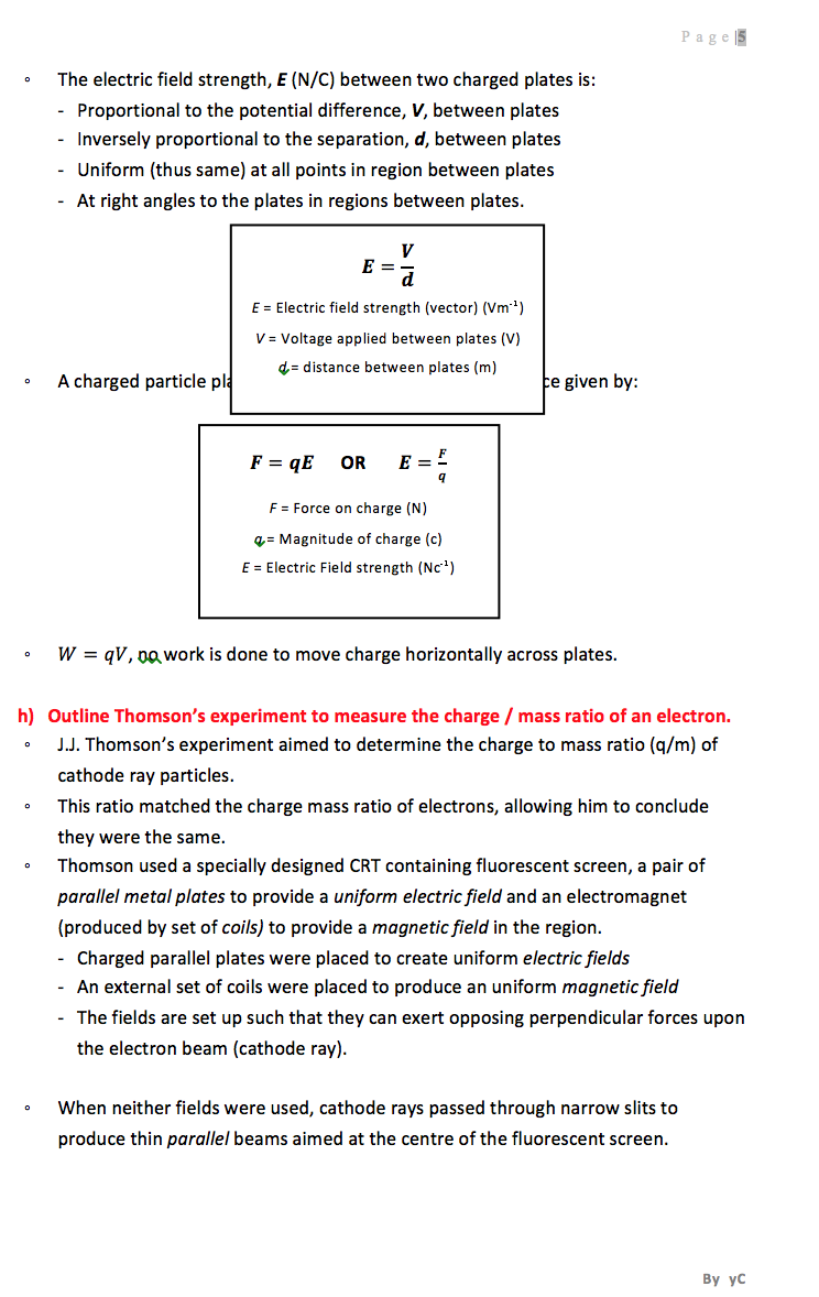 Physics HSC band 6 notes from girraween High school