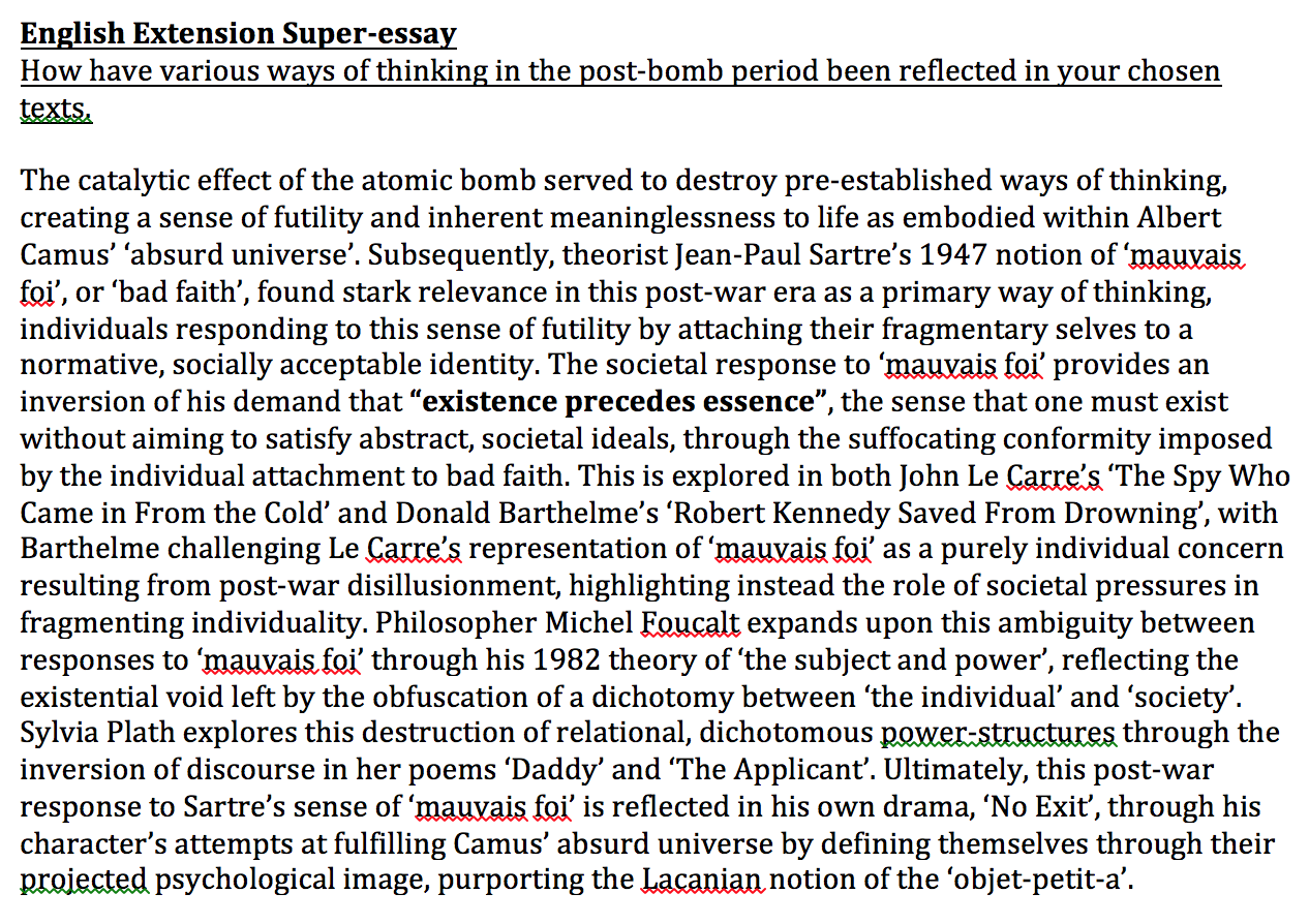 Example Of A Thesis Essay After The Bomb My English Class Essay also Do My Engineering Assignment English Extension Essay  After The Bomb The Spy Who Came In From  Essay For Students Of High School