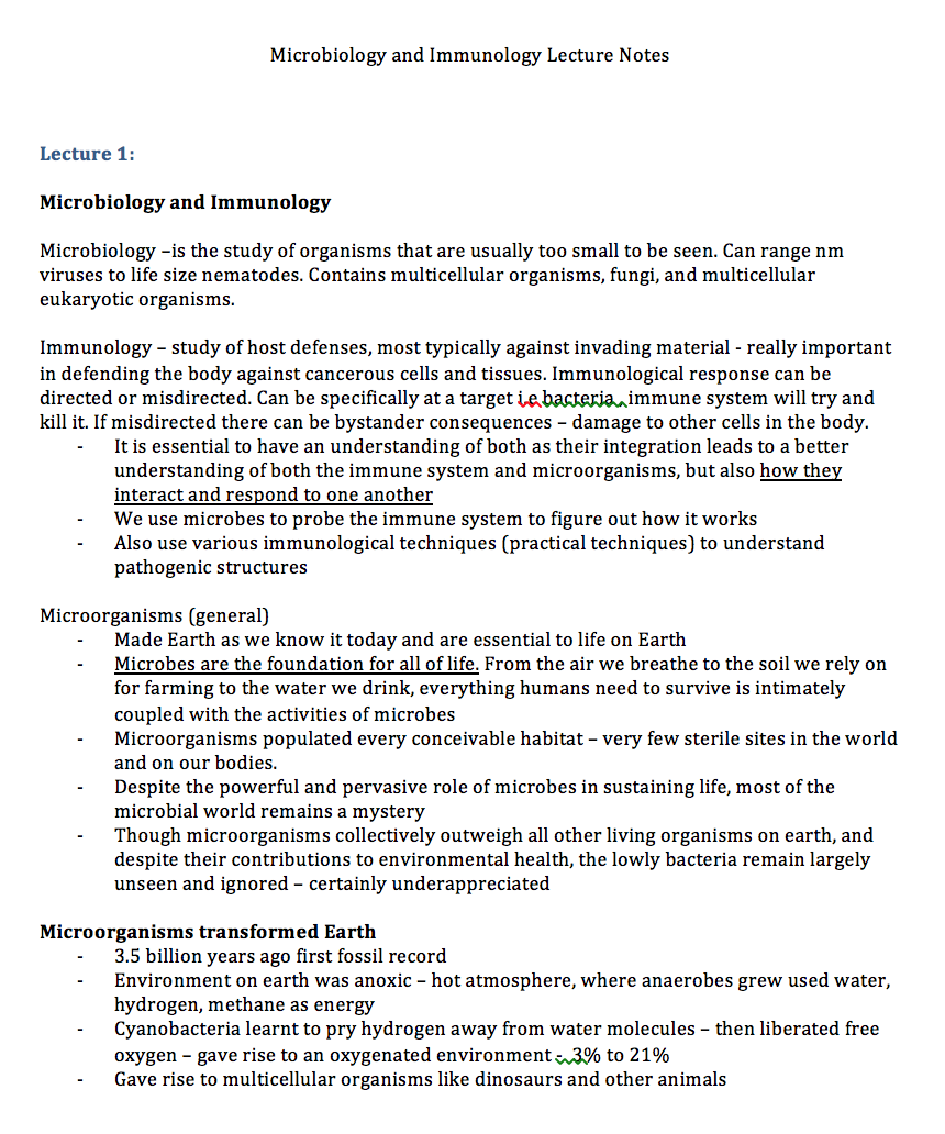 Microbiology and Immunology Lecture Notes - NoteXchange