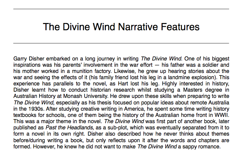 garry disher the divine wind essay