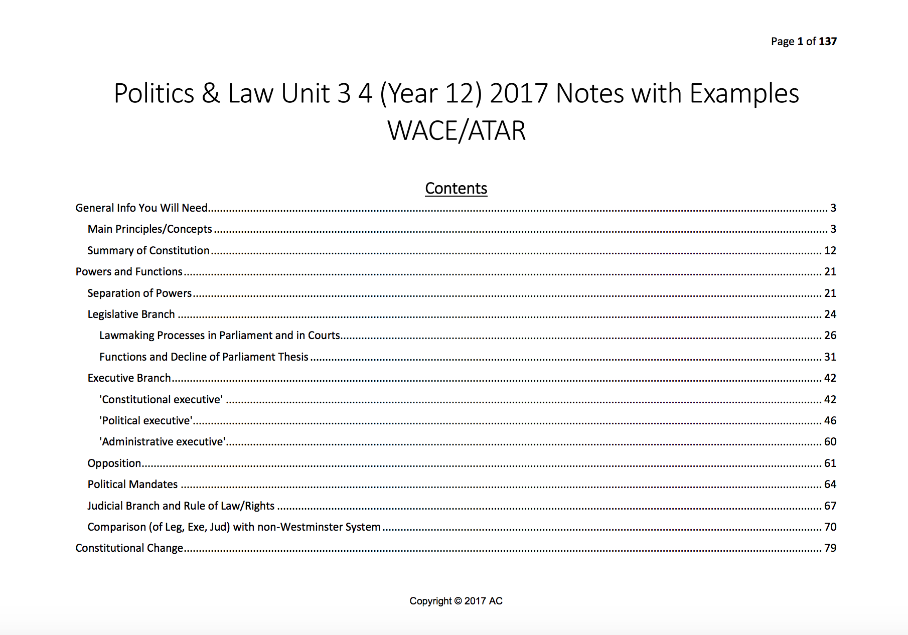 Politics & Law/Legal Studies Units 3/4 ATAR 2017 Notes